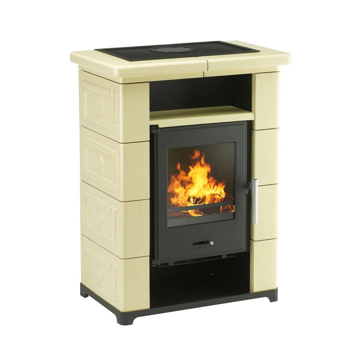 kaminofen wamsler montafon schwarz mit keramik beige 7kw. Black Bedroom Furniture Sets. Home Design Ideas