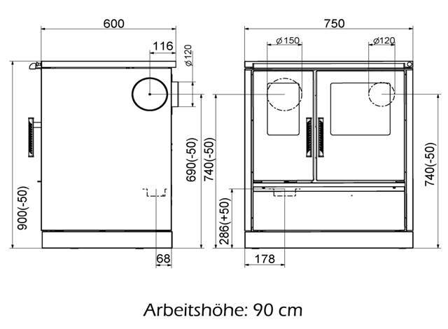 wamsler k chenherd w1 75 anschluss links anthrazit metallic feuer. Black Bedroom Furniture Sets. Home Design Ideas